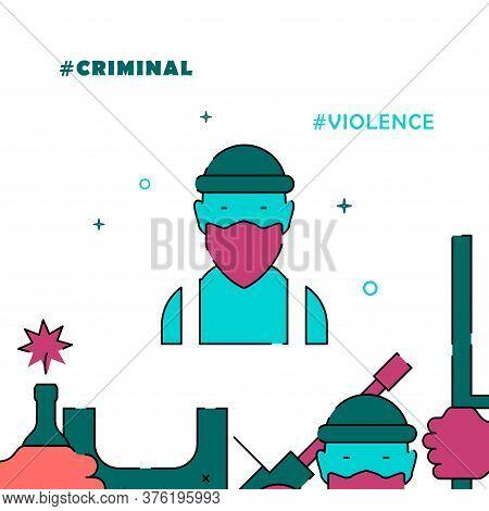 Killer, Criminal Face Filled Line Vector Icon, Simple Illustration, Related Bottom Border.