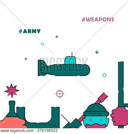 Submarine, Navy, Marine Forces Filled Line Vector Icon, Simple Illustration, Related Bottom Border.