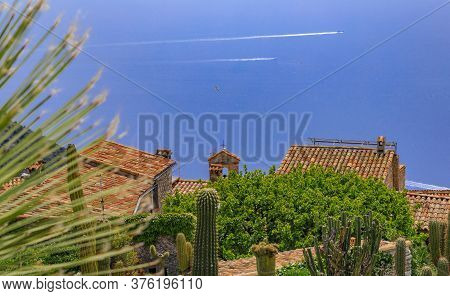 Scenic View Of The Mediterranean Coastline And Medieval Houses From The Top Of The Town Of Eze Villa