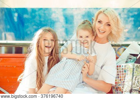 Happy Family Photo. Closeup Portrait Photo Toothy Smiling Laughing Two Little Cute Girls, Her Mother