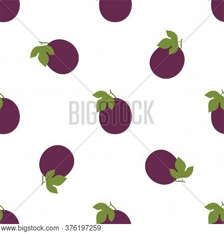 Passion Fruit. Seamless Vector Patterns On White Background