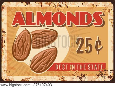 Almond Nuts Rusty Plate, Vintage Food Poster, Raw Snacks Vector Retro Design. Natural Organic Almond