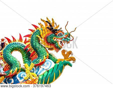 Dragon Statue Isolated On White A Background