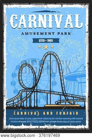 Amusement Park Roller Coaster Rides, Funfair Carnival And Attractions, Vector Vintage Retro Poster.
