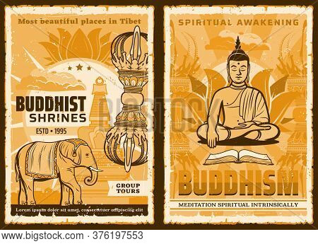 Buddhism Religion, Buddha In Yoga Zen Meditation Buddhist Lotus And Temples, Vector Poster. Buddhism