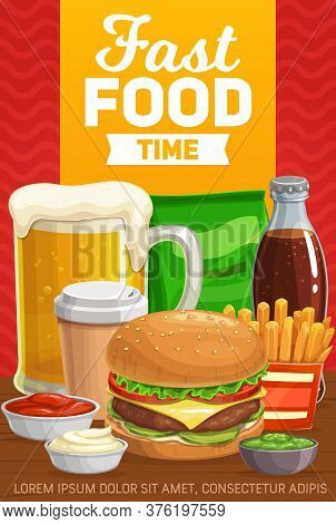 Fast Food Burgers, Drinks And Snacks, Vector Menu. Fastfood Hamburger, Sandwich Meals, Soda Bottle A