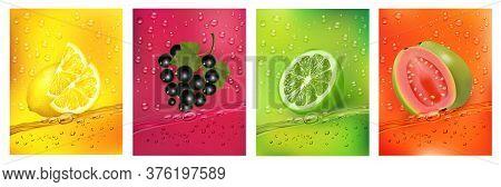 Fresh Fruits Juice Splashing Together- Guava, Blackberry, Citron, Lime Juice Drink Splashing. 3d Fre