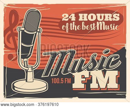 Radio Broadcast Poster, Retro Microphone Of Music Studio Podcast And Fm Live Sound Station, Vector.