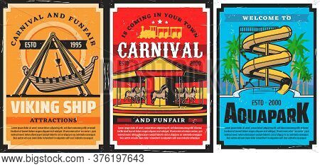 Amusement Park Carousels, Viking Ship And Water Slides, Aquapark Vector Retro Posters. Funfair Carni