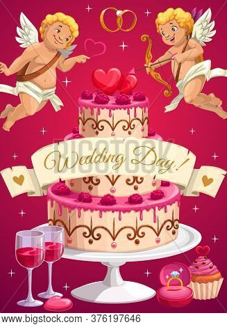 Wedding Day Cake, Cupids And Love Hearts, Vector Bride And Groom Marriage Party. Diamond Rings And R