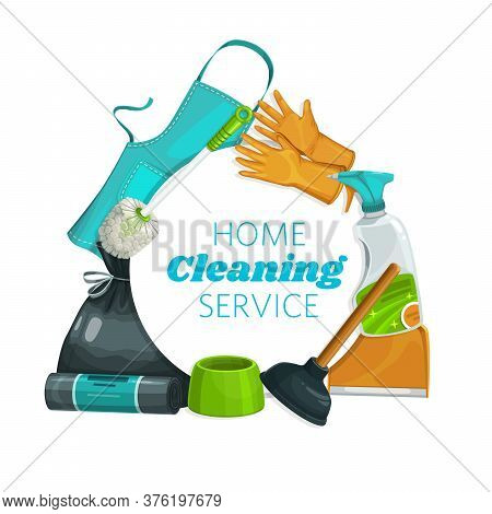 House Cleaning Tools And Equipment, Clean Home Service, Vector Household Detergents. Home Cleaning,
