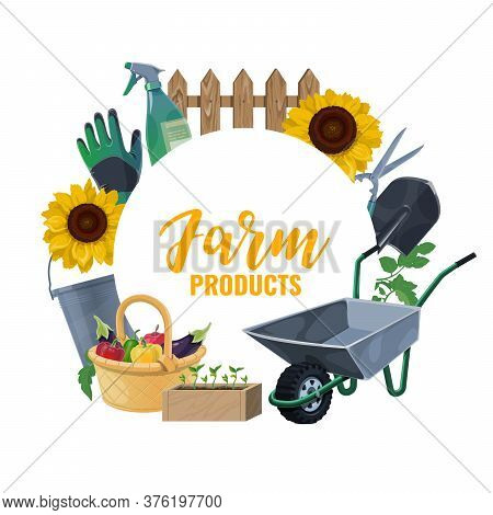 Farming And Gardening Tools, Garden Shovel, Rake, And Fork, Vector Agriculture Equipment. Farming Sp