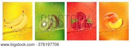 Fresh Fruits Juice Splashing Together- Banana, Kiwi, Peach, Raspberry Juice Drink Splashing. 3d Fres