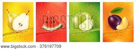 Fresh Fruits Juice Splashing Together- Pear, Apple, Plum, Watermelon Juice Drink Splashing. 3d Fresh