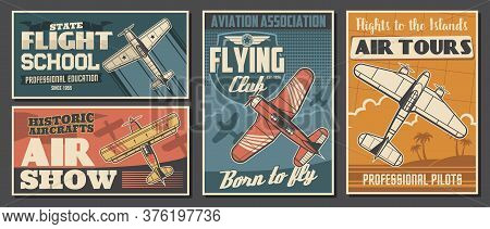 Flight School Tours And Club Posters, Aviation Air Show, Professional Pilot Association, Vector. Civ