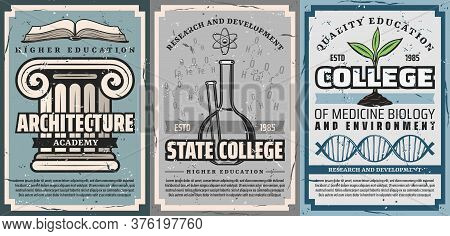 Education Posters, Architecture, Chemistry And Biology Medicine, Vector. Medical Biology And Environ