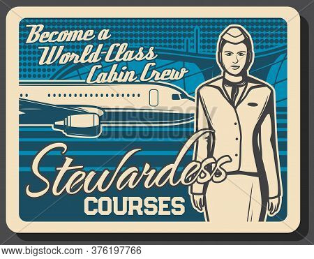 Stewardess Training Courses, Flight Attendant And Air Hostess, Airplane Cabin Crew Education, Vector