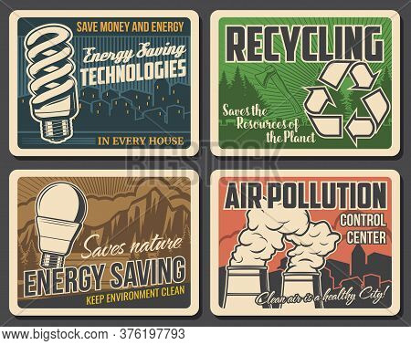 Recycling, Pollution And Environment Poster, Earth Ecology And Green Energy, Vector. Global Warming