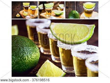 Tequila Composite, Several Tequila Shots, Mexico Symbol Drink, International Tequila Day 24Th July