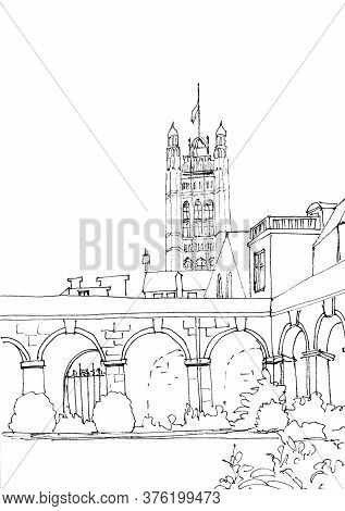 Westminster Abbey Courtyard And Parliament Tower, London, Uk, Graphic Black And White Drawing, Trave