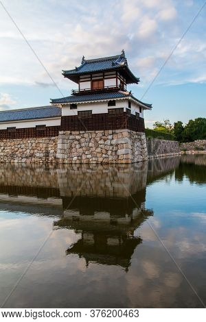 Hiroshima,japan-july 2019: Hiroshima Castle And Blue Sky Reflected On The River.hiroshima,japan-july