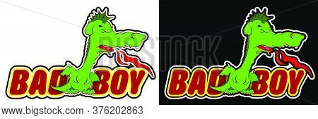 Cute Young Dragon Teenager In A Bad Mood Releases Flames From His Mouth. Color Sticker. Vector On A