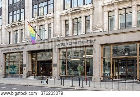 London, Uk - April 24, 2020: Main Entrance To The University Of Westminster, Formerly The London Pol