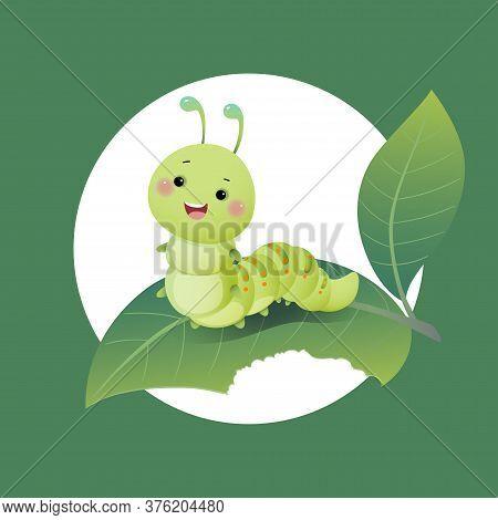 Vector Illustration Cute Cartoon Caterpillar Chewing Green Leaf.