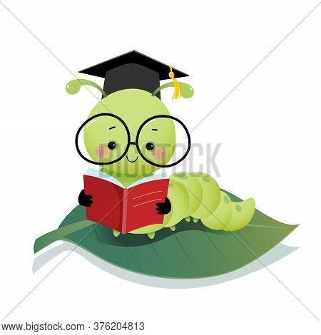 Vector Illustration Cute Cartoon Caterpillar Worm Wearing Graduation Mortarboard Hat And Glasses Rea