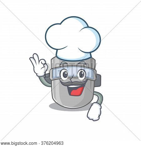 Talented Welding Mask Chef Cartoon Drawing Wearing Chef Hat