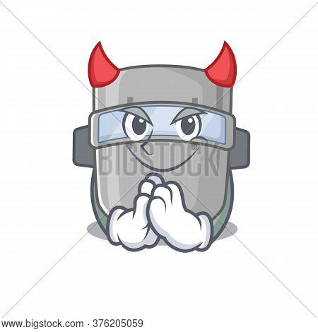 Welding Mask Clothed As Devil Cartoon Character Design Concept