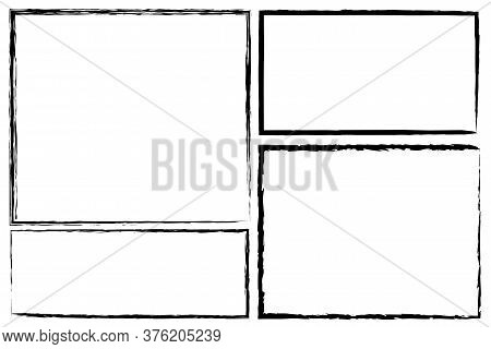 Rectangular Frame Or Border Drawn By Brush. Hand Scratched Area With Pencil Or Pen. Grunge Image.