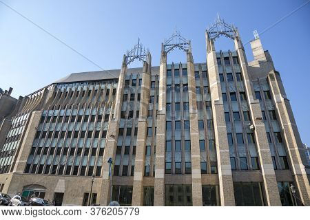 Brussels, Belgium - July 04, 2018: Building Of Modern Architecture In The Central Part Of Brussels