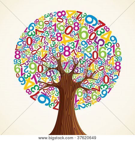 School education concept tree made with numbers. Vector file layered for easy manipulation and custom coloring. poster