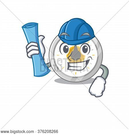 Caricature Design Concept Of Old Kitchen Timer Architect With New City Landscape Blue Prints
