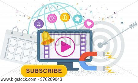 Video Marketing. Computer, Video Channel To The Internet, Subscription And Alerts. Attracting New Su