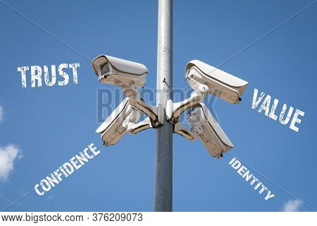 Brand Concept. Trust, Value, Identity And Confidence. Panoramic Surveillance Cameras On High Pillar