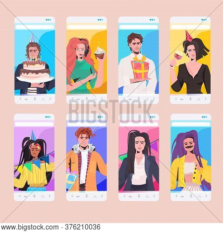 Set People Celebrating Birthday Party Mix Race Men Women Having Fun Celebration Concept Smartphone S