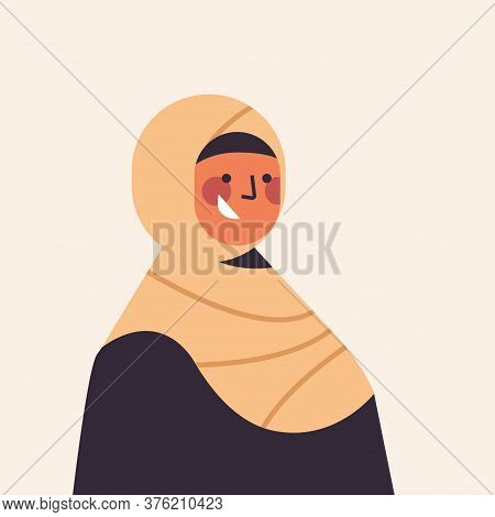 Arabic Woman In Traditional Clothes Smiling Arab Girl Avatar Female Cartoon Character Portrait Vecto