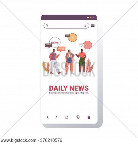 Mix Race Friends Discussing Daily News During Meeting Chat Bubble Communication Concept Smartphone S