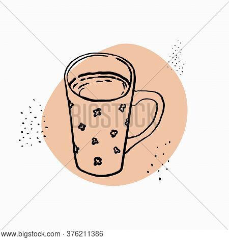 Mug With Tea Painted With Brush And Ink. Cute Cup With A Floral Pattern. Vector Illustration.