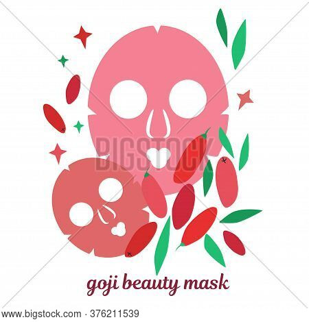 Illustration With Beauty Masks For Face Skin. Skin Care Masks Based On Goji Berries. Natural Cosmeti