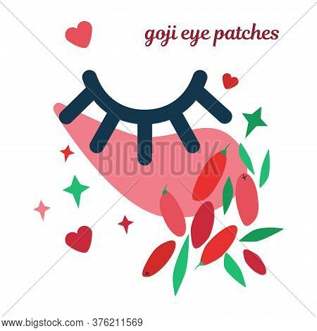 Illustration With Cosmetic Patch On Eyes. Natural Skin Care, Hydrogel Eye Patch Based On Goji Berrie