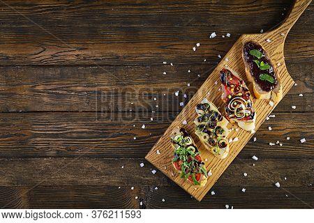 Bruschetta With Chicken Liver Paste. Delicious Bruschettas With Various Fillings. Different Bruschet