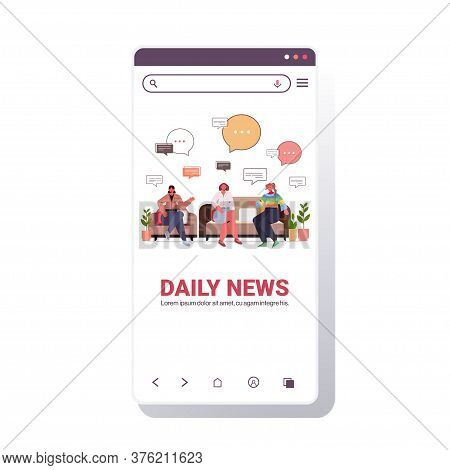 Friends Discussing Daily News During Meeting Chat Bubble Communication Concept Smartphone Screen Mob