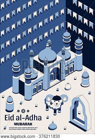 Eid Al Adha Background Isometric. Islamic Arabic Mosque, Lanterns And Sheep. Greeting Card. Festival