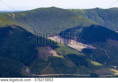 Hillside With A Plot After Deforestation In The Carpathian Mountains