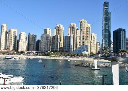 Dubai, Uae - Feb 15: View Of Jumeirah Beach Residences From Bluewaters Island In Dubai, Uae, As Seen