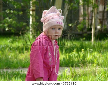 Little Girl On Nature