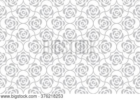 Flower Geometric Pattern With Roses. Seamless Background. White And Grey Ornament. Ornament For Fabr